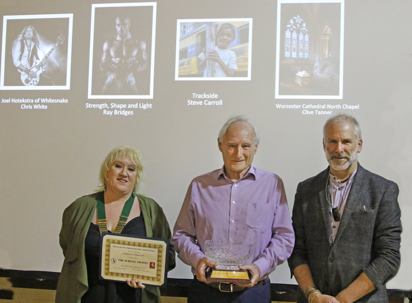 Tracy Hughes - KCPA President (left), Don Salmon - Maidstone Camera Club President (middle) and Ken Scott ARPS - Judge (right) with the trophy
